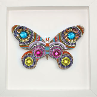 Butterfly mosaic in frame