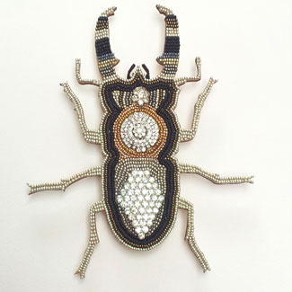 Stag Beetle mosaic in frame